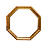 Antique hexahedron frame. Antique wooden hexahedron frame isolated on a white background Stock Photos