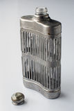 Antique hip flask and cap Royalty Free Stock Photos