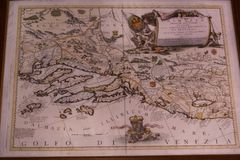 Antique map of the Gulf of Venice, Dalmatia and the Kingdom of Bosna royalty free stock photo