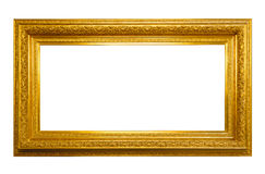 Antique horizontal golden frame isolated on white Stock Photo