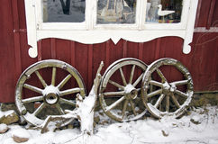 Antique horse carriage wheels  and winter snow Stock Images