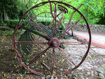 ANTIQUE HORSE DRAWN HAY RAKE Stock Image