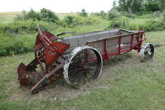 An antique horse-drawn manure spreader Stock Images