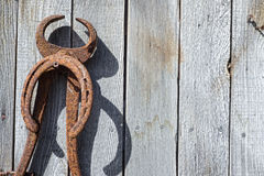 Antique horseshoeing tool wall Royalty Free Stock Photos