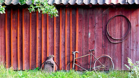 Antique house and bicycle stockholm Stock Photo