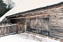 Antique house rural scene Lithuania Stock Photo