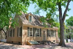 Antique House in Williamsburg, VA, USA. Antique House at the corner of E Duke of Gloucester Street and Colonial Street in Colonial Williamsburg, Virginia, USA Stock Photos