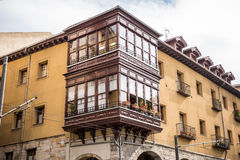 Antique house with wooden balcony in Bilbao Royalty Free Stock Image