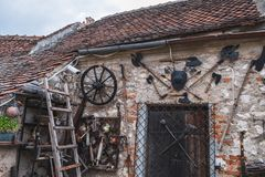 Ancient weapons in Rasnov Fortress, Romania royalty free stock images