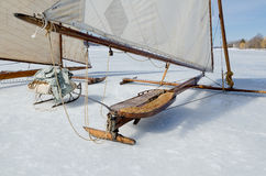 Ice Sailing Yacht on the Hudson River. Royalty Free Stock Images