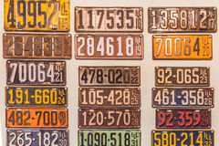 Antique Illinois Vehicle License Plates. A collection of vintage twentieth century State of Illinois license plates from the teen`s, 1920`s, and 1930`s Stock Images
