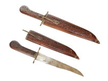 Antique indian dagger. Old indian dagger with wooden engraved hilt and sheath stock photography