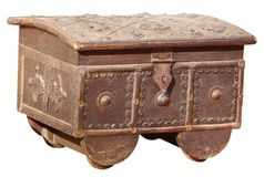 Antique, Indian Treasure Box on White Background Royalty Free Stock Photos
