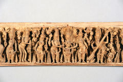 Antique indian wooden frieze Royalty Free Stock Photo