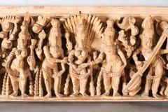 Antique indian wooden frieze Stock Images