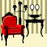Antique interior with red armchair Stock Photography