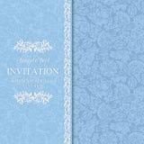 Antique invitation, blue Stock Photos