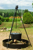 Antique  iron cooking pot Royalty Free Stock Photo
