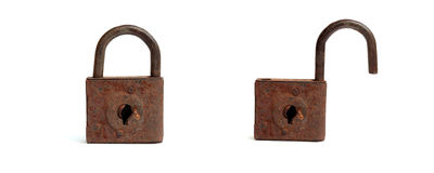Antique iron lock on a white background opened and closed Royalty Free Stock Photos