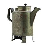 Antique iron pot. with white background. Stock Photo