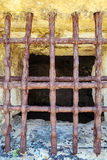 Antique iron Prison bars in corfu fort. Ress Royalty Free Stock Image