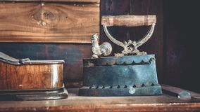 Antique Iron For Smooth Clothes stock photography