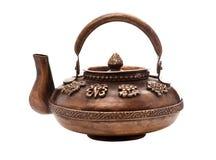 Antique iron tea pot isolated on white Stock Photography