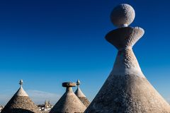 Antique italian house Trulli, Alberobello, Puglia - Italy. Trulli domes, traditional houses built with dry stone and conical roof, Alberobello, UNESCO World stock image