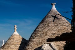 Antique italian house Trulli, Alberobello, Puglia - Italy. Trulli domes, traditional houses built with dry stone and conical roof, Alberobello, UNESCO World royalty free stock images