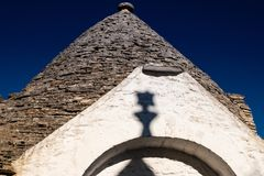 Antique italian house Trulli, Alberobello, Puglia - Italy. Trulli domes, traditional houses built with dry stone and conical roof, Alberobello, UNESCO World royalty free stock photography