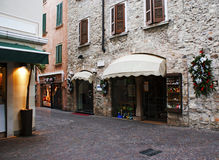 Antique italian shopping street. Antique italian shopping street with christmas decor Royalty Free Stock Photos