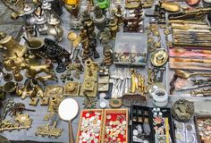 Antique items on the antique market royalty free stock image