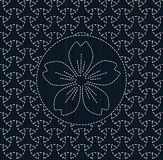 Antique japanese fancywork. Sashiko with sakura flower. Royalty Free Stock Image