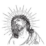 Antique Jesus Christ engraving (vector) Stock Photography