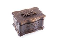 Antique Jewellery Box. Antique Musical Jewellery Box, isolated on white, with clipping path Stock Photography