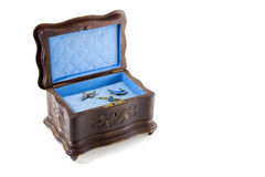 Antique Jewellery Box open. Antique Musical Jewellery Box with contents, isolated on white, with clipping path Stock Photos