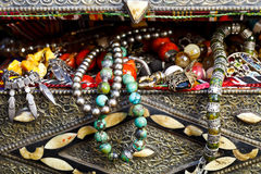 Antique jewelry in ancient treasure chest royalty free stock images