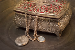 Antique jewelry box stock photography