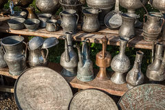 Antique jugs and dishes stock photos
