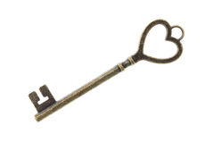 Antique key. Isolated on white background Stock Photo