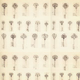 Antique key pattern background with ledger paper. Pattern Stock Photos