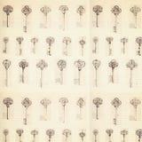 Antique key pattern background with ledger paper vector illustration
