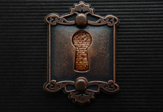 Antique keyhole with brickwall blocking it Royalty Free Stock Photography