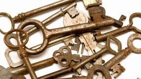 Antique keys 2. Several vintage keys against a white background Royalty Free Stock Image