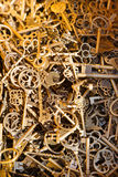 Antique keys. View of many antique keys Stock Photos
