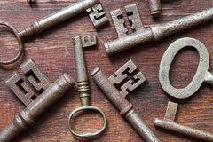 Antique keys background Royalty Free Stock Photos