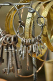 Antique keys on a bunch Royalty Free Stock Photos