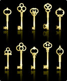 Antique keys collection Royalty Free Stock Images