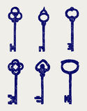 Antique keys collection. Doodle style Stock Photography