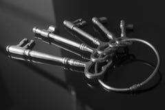 Antique keys on a keyring. On black background Royalty Free Stock Photography